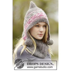 Sweet Winter Hat by DROPS Design - Mössa och hals Stick-opskrift str. S/M - L/XL