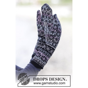 Moonflower Mittens by DROPS Design - Vantar Stick-opskrift str. One size