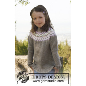 Silje jumper by DROPS Design - Tröja Stick-opskrift str. 3/4 - 11/12 år