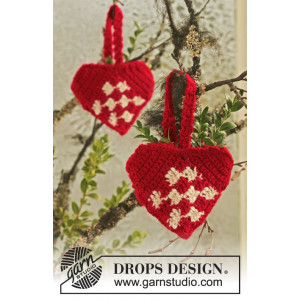 Heart Basket by DROPS Design - Julkorg Virk-mönster 10 cm - 2 st.
